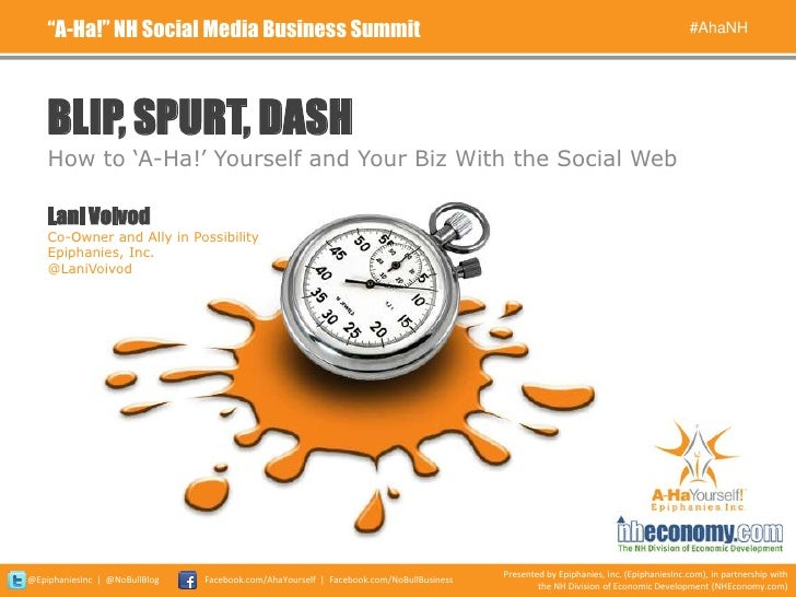 Blip, Spurt, Dash: How to 'A-Ha!' Yourself and Your Biz With the Social Web (#AhaNH 2011)