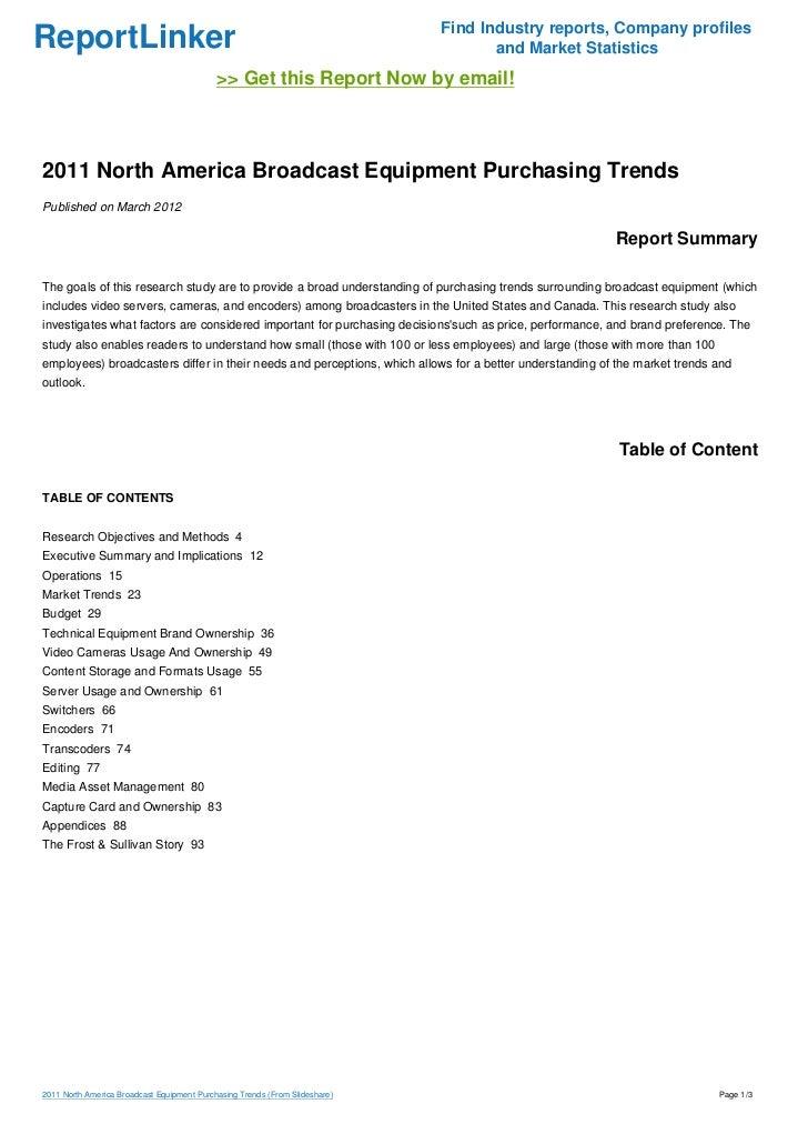 2011 North America Broadcast Equipment Purchasing Trends