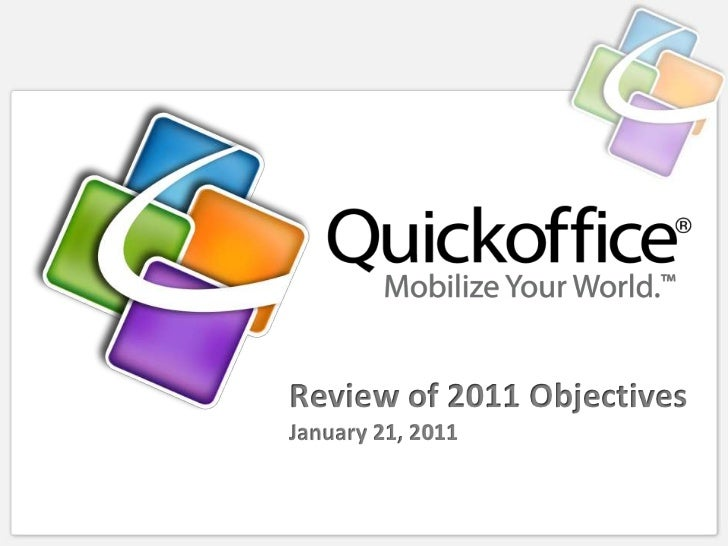 Review of 2011 ObjectivesJanuary 21, 2011