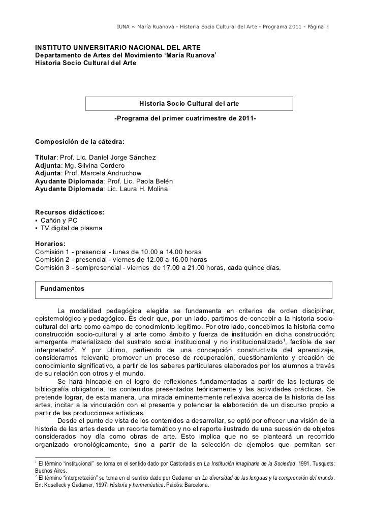 IUNA ~ María Ruanova - Historia Socio Cultural del Arte - Programa 2011 - Página 1INSTITUTO UNIVERSITARIO NACIONAL DEL ART...