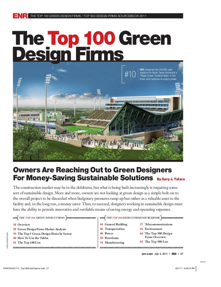 the top 100 GReeN DeSIGN FIRMS / top 500 DeSIGN FIRMS SoURCeBooK 2011                        The Top 100 Green            ...