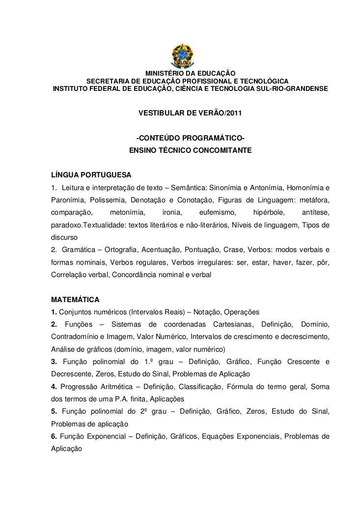 MINISTÉRIO DA EDUCAÇÃO         SECRETARIA DE EDUCAÇÃO PROFISSIONAL E TECNOLÓGICAINSTITUTO FEDERAL DE EDUCAÇÃO, CIÊNCIA E T...