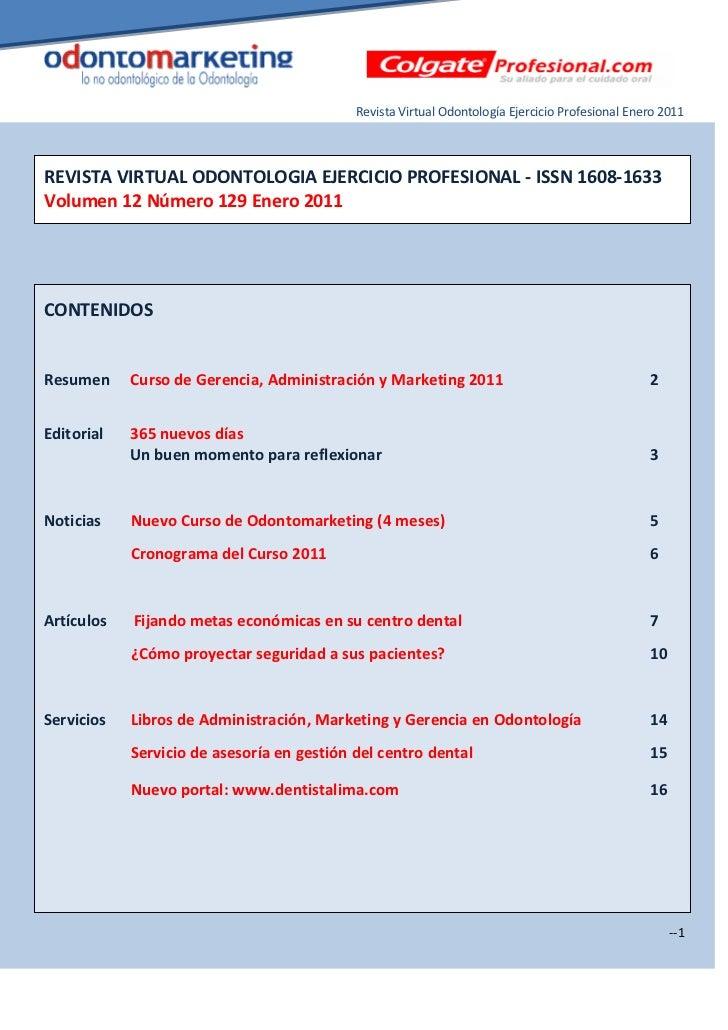 Revista Virtual Odontología Ejercicio Profesional Enero 2011REVISTA VIRTUAL ODONTOLOGIA EJERCICIO PROFESIONAL - ISSN 1608-...