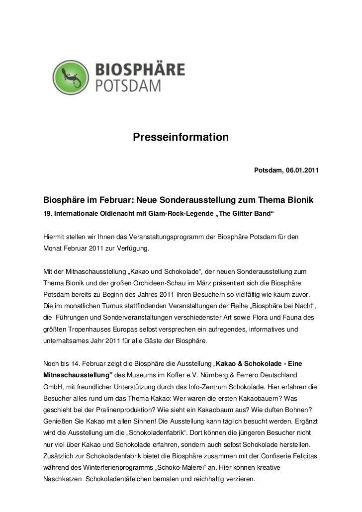 Presseinformation                                                                     Potsdam, 06.01.2011Biosphäre im Febr...