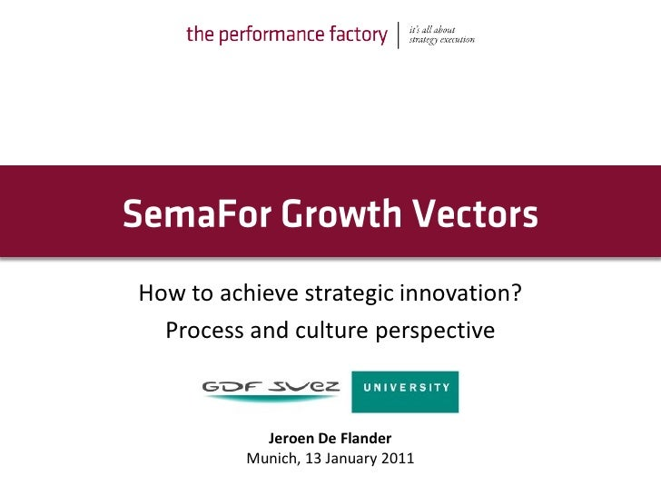 How to achieve strategic innovation?  Process and culture perspective            Jeroen De Flander          Munich, 13 Jan...