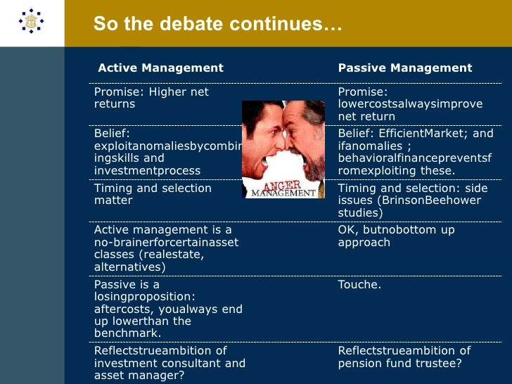 active vs passive fund management Active vs passive management: an academic overview  of the relationship between active and passive management that concisely explains why active management can never outperform on the whole .