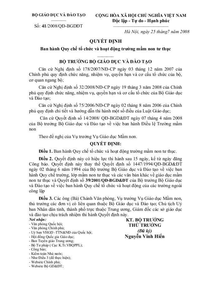 BỘ GIÁO DỤC VÀ ĐÀO TẠO  ——— Số: 41/2008/QĐ-BGDĐT  CỘNG HÒA XÃ HỘI CHỦ NGHĨA VIỆT NAM  Độc lập - Tự do - Hạnh phúc  ———————...