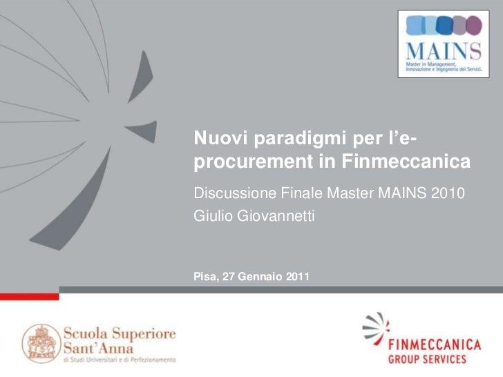 Nuovi Modelli di E-Procurement nel Gruppo Finmeccanica