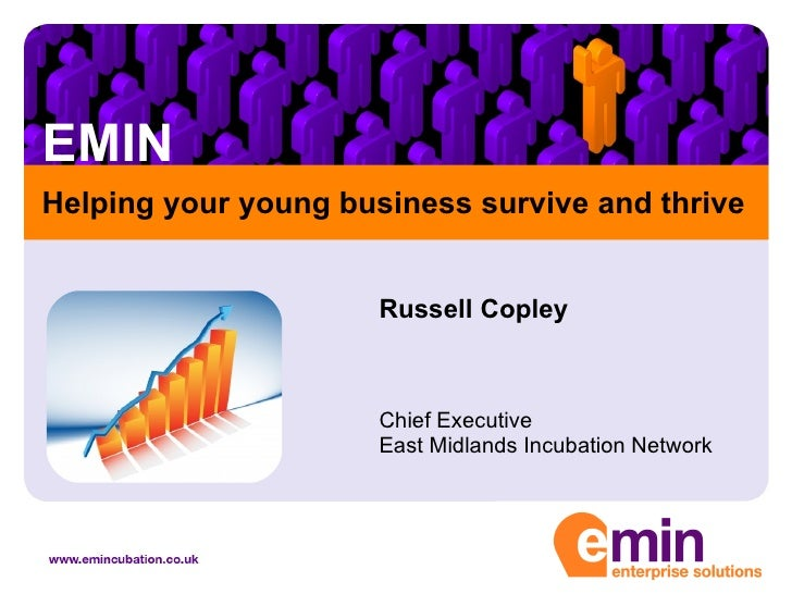 EMIN Russell Copley Chief Executive East Midlands Incubation Network Helping your young business survive and thrive