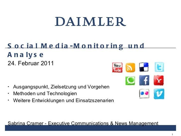 Social Media-Monitoring und Analyse <ul><li>24. Februar 2011 </li></ul><ul><li>Ausgangspunkt, Zielsetzung und Vorgehen </l...
