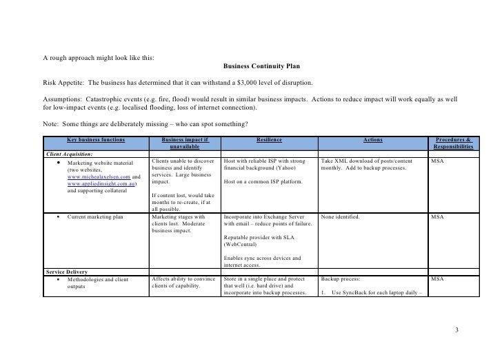 business continuity plan case study pdf