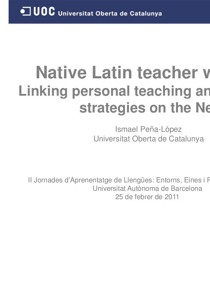 Native Latin teacher wantedLinking personal teaching and learning         strategies on the Net                           ...