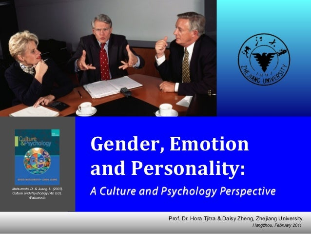Gender, Emotion and Personality: Cross-cultural Psychology Perspectives