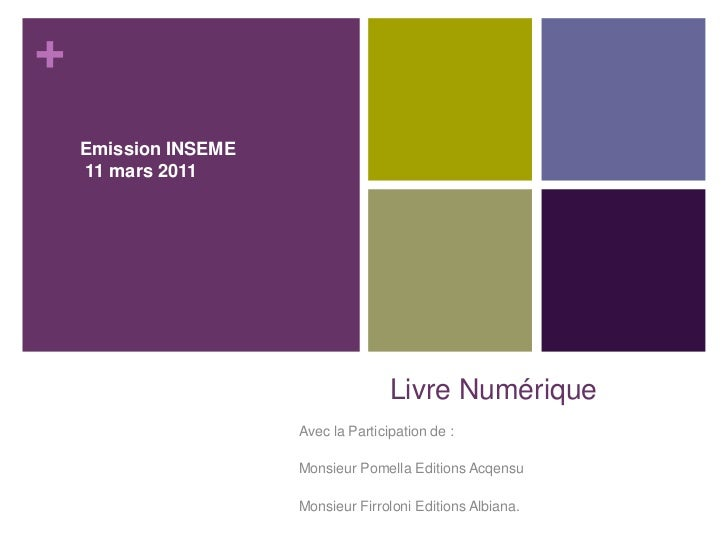 Livre Numérique<br />Emission INSEME <br /> 11 mars 2011 <br />Avec la Participation de :<br />Monsieur Pomella Editions A...