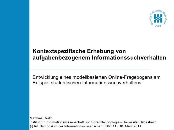 Kontextspezifische Erhebung von aufgabenbezogenem Informationssuchverhalten