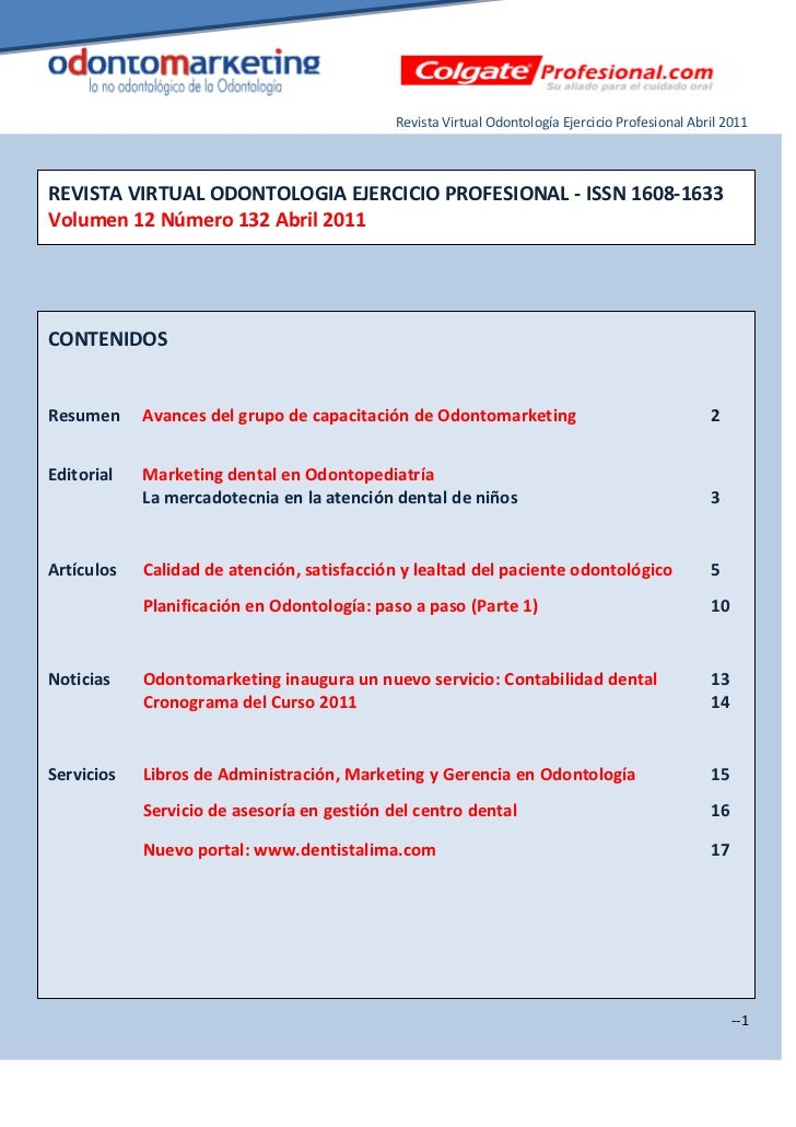 Revista Virtual Odontología Ejercicio Profesional Abril 2011REVISTA VIRTUAL ODONTOLOGIA EJERCICIO PROFESIONAL - ISSN 1608-...