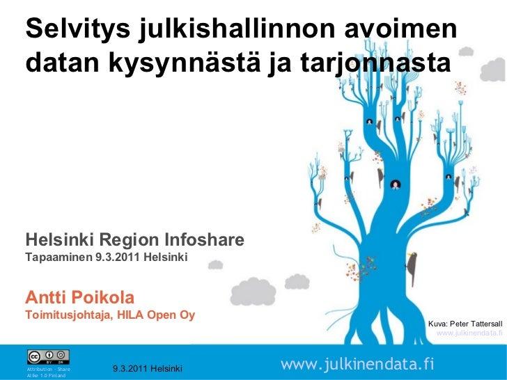 Kuva: Peter Tattersall www.julkinendata.fi Selvitys julkishallinnon avoimen datan kysynnästä ja tarjonnasta Helsinki Regio...