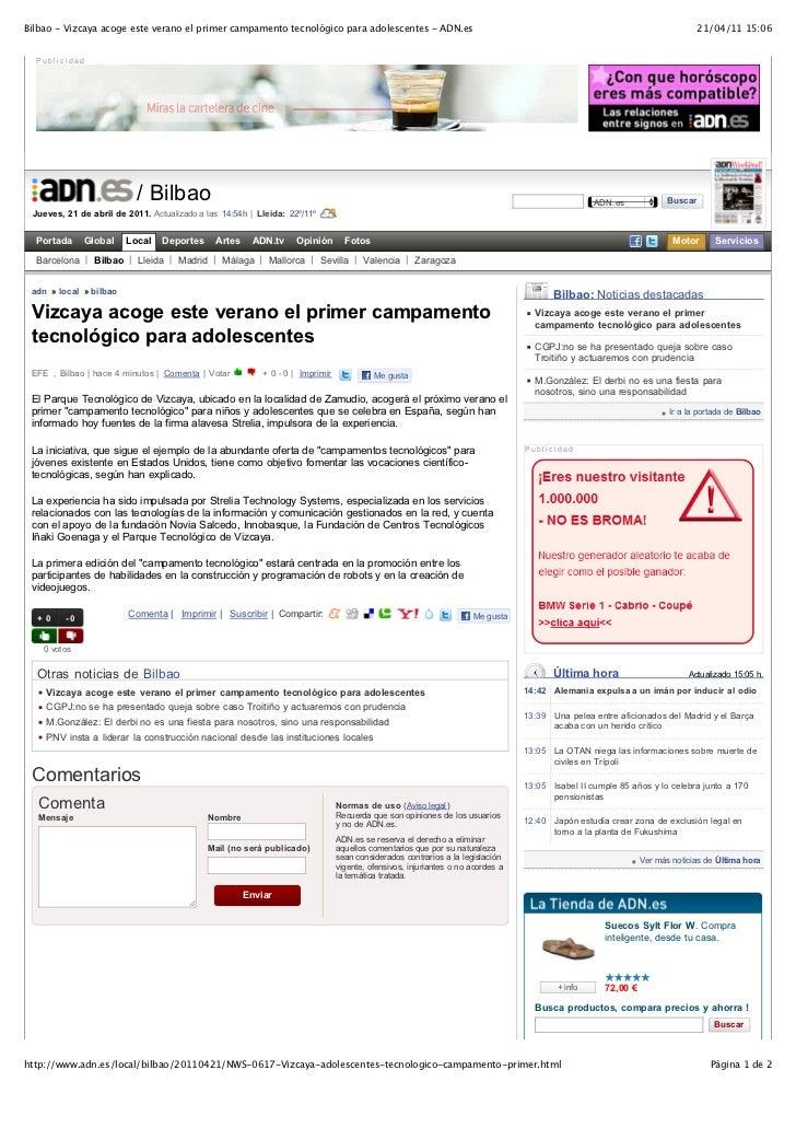Bilbao - Vizcaya acoge este verano el primer campamento tecnológico para adolescentes - ADN.es                            ...