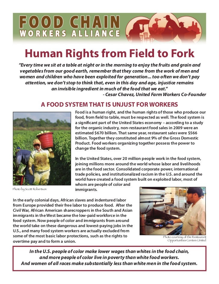 """Human Rights from Field to Fork    """"Every time we sit at a table at night or in the morning to enjoy the fruits and grain ..."""