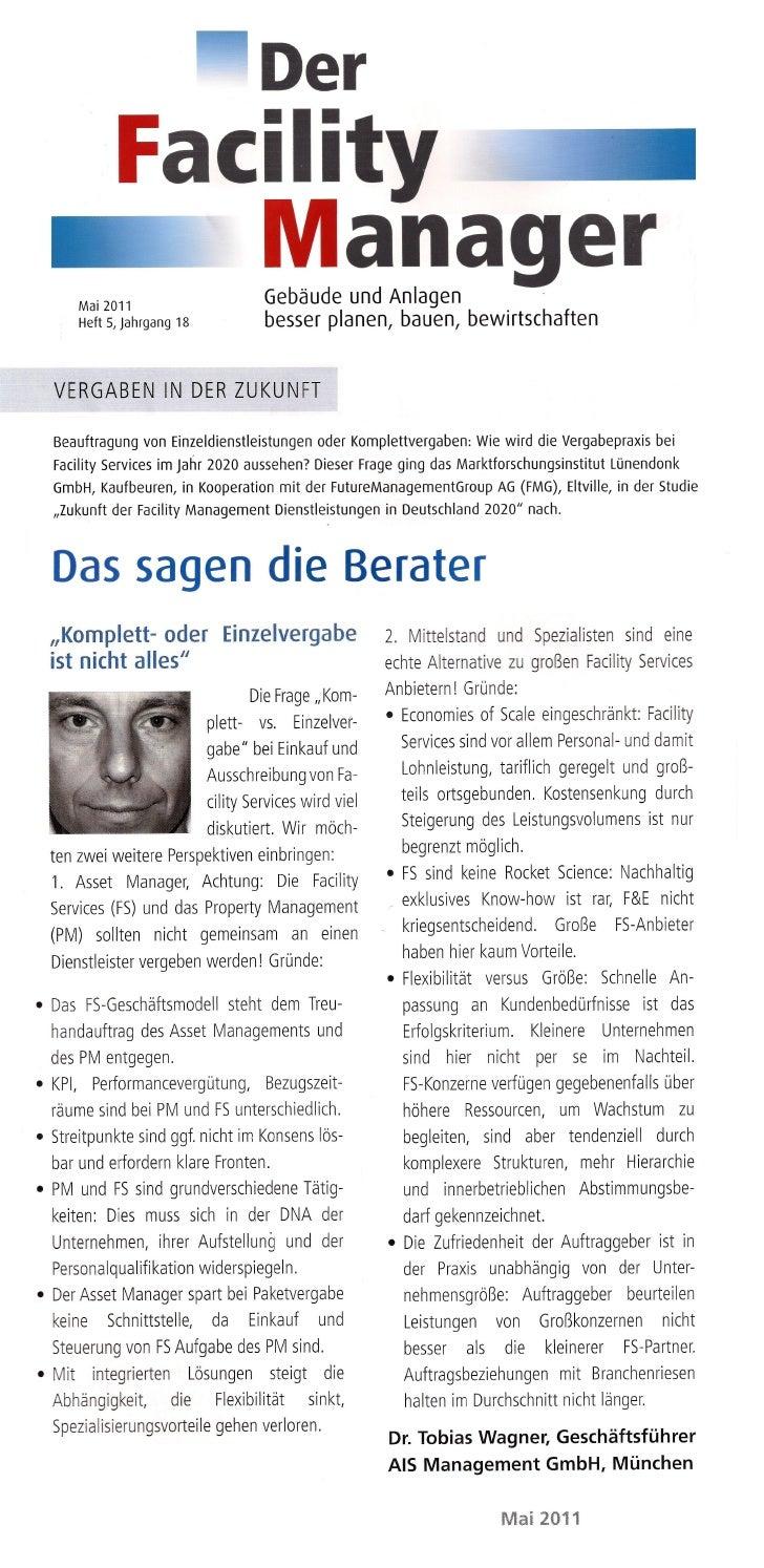 """Vergabemodelle der Zukunft im Property und Facility Management in """"Der Facility Manager"""" Ausgabe Mai 2011 / Heft 5"""