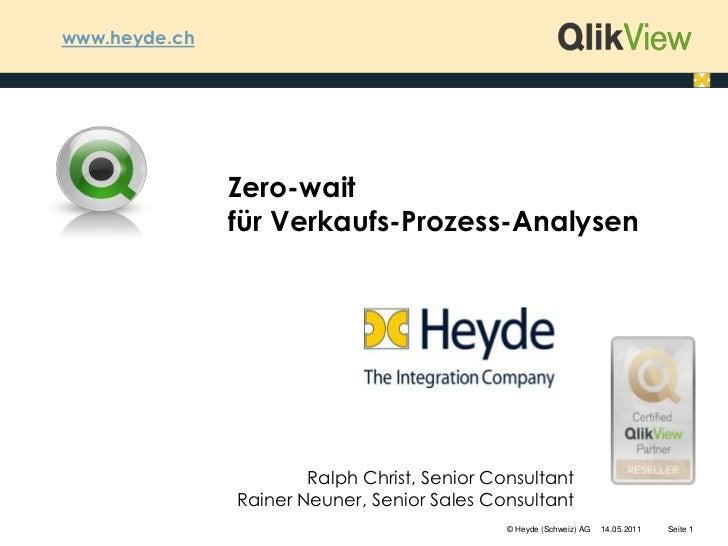 www.heyde.ch<br />Zero-wait für Verkaufs-Prozess-Analysen<br />Ralph Christ, Senior ConsultantRainer Neuner, Senior Sales ...
