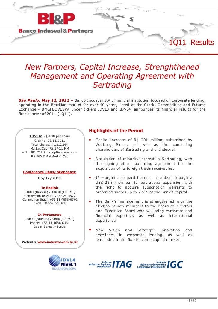 Earnings Release Report 1Q11
