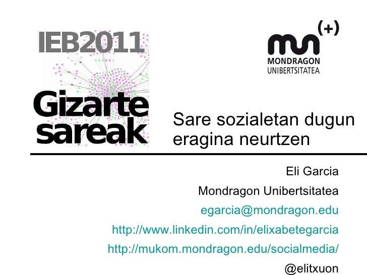 Sare sozialetan dugun eragina neurtzen Eli Garcia Mondragon Unibertsitatea [email_address] http://www.linkedin.com/in/elix...