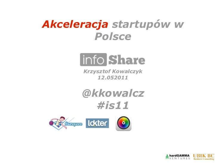 Akceleracja startupów w         Polsce      Krzysztof Kowalczyk          12.052011      @kkowalcz        #is11