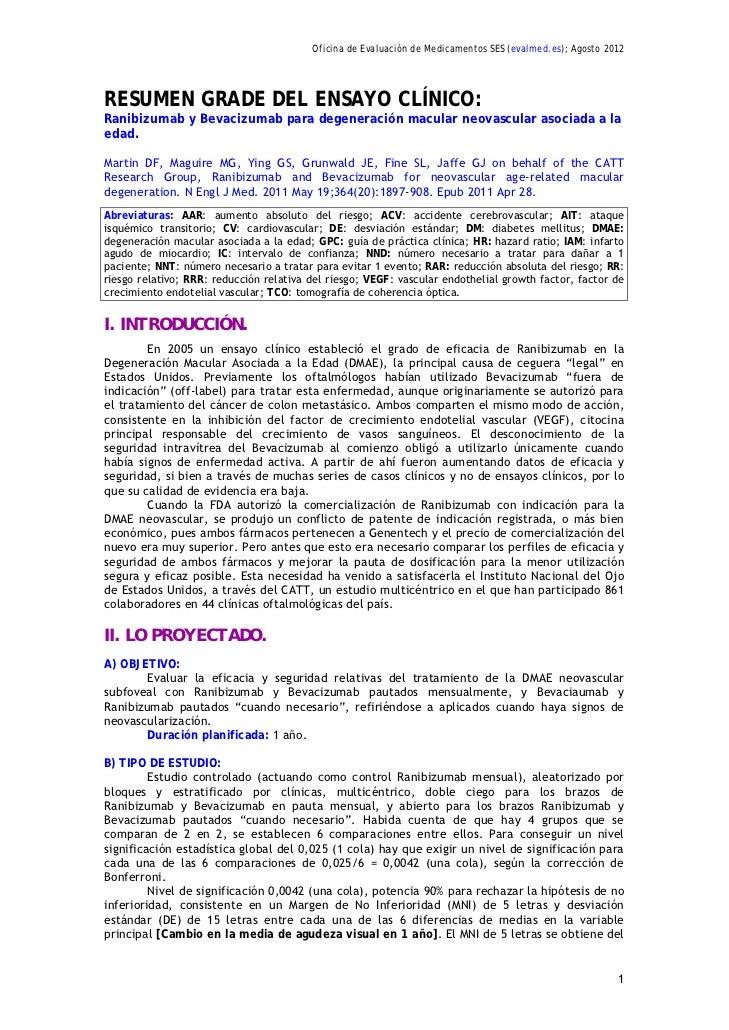 Oficina de Evaluación de Medicamentos SES (evalmed.es); Agosto 2012RESUMEN GRADE DEL ENSAYO CLÍNICO:Ranibizumab y Bevacizu...