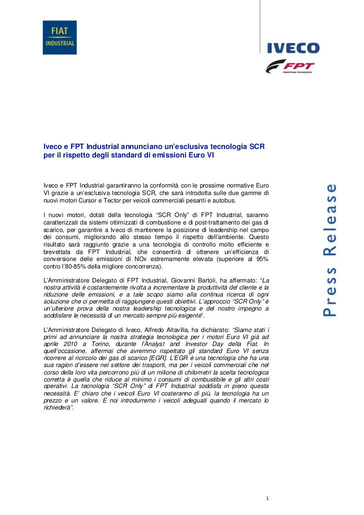 Iveco e FPT Industrial annunciano un'esclusiva tecnologia SCRper il rispetto degli standard di emissioni Euro VIIveco e FP...