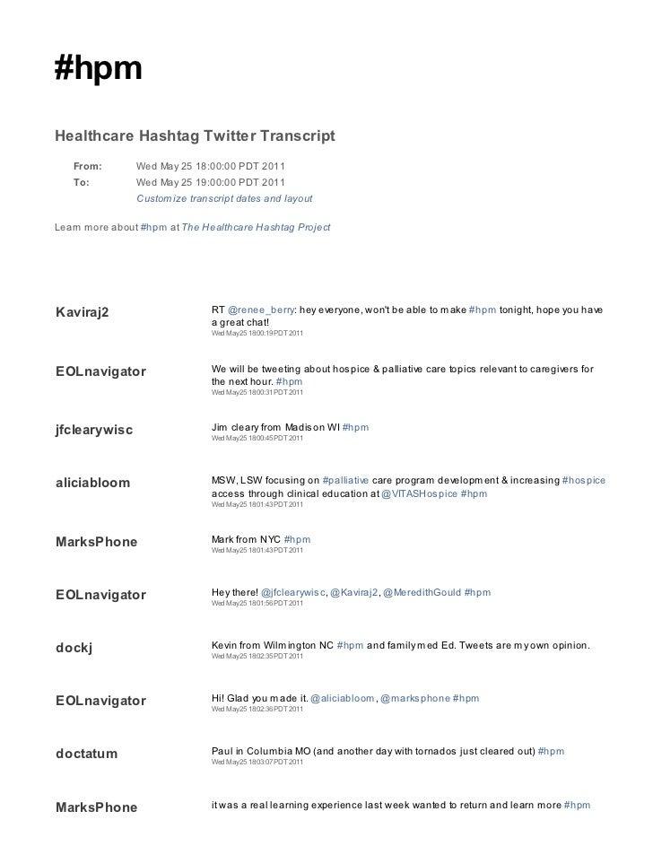 2011 05 25 hpm tweetchat transcript