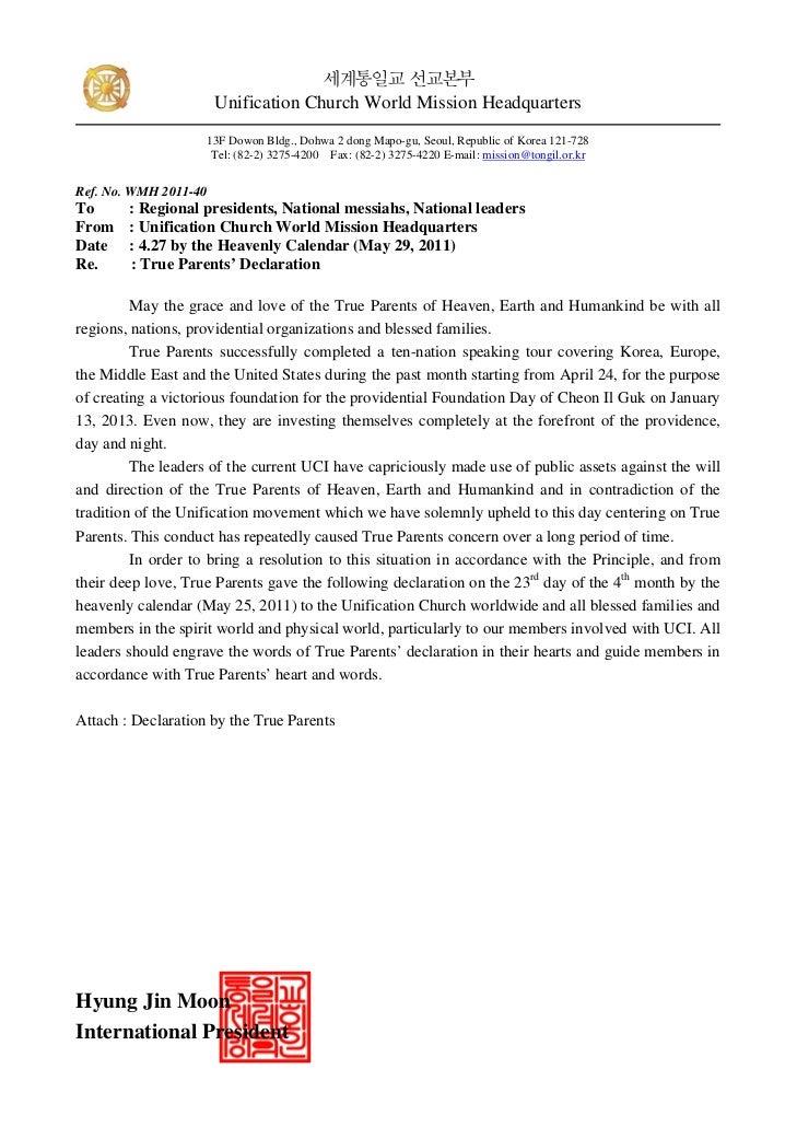 True Parents Declaration (English)