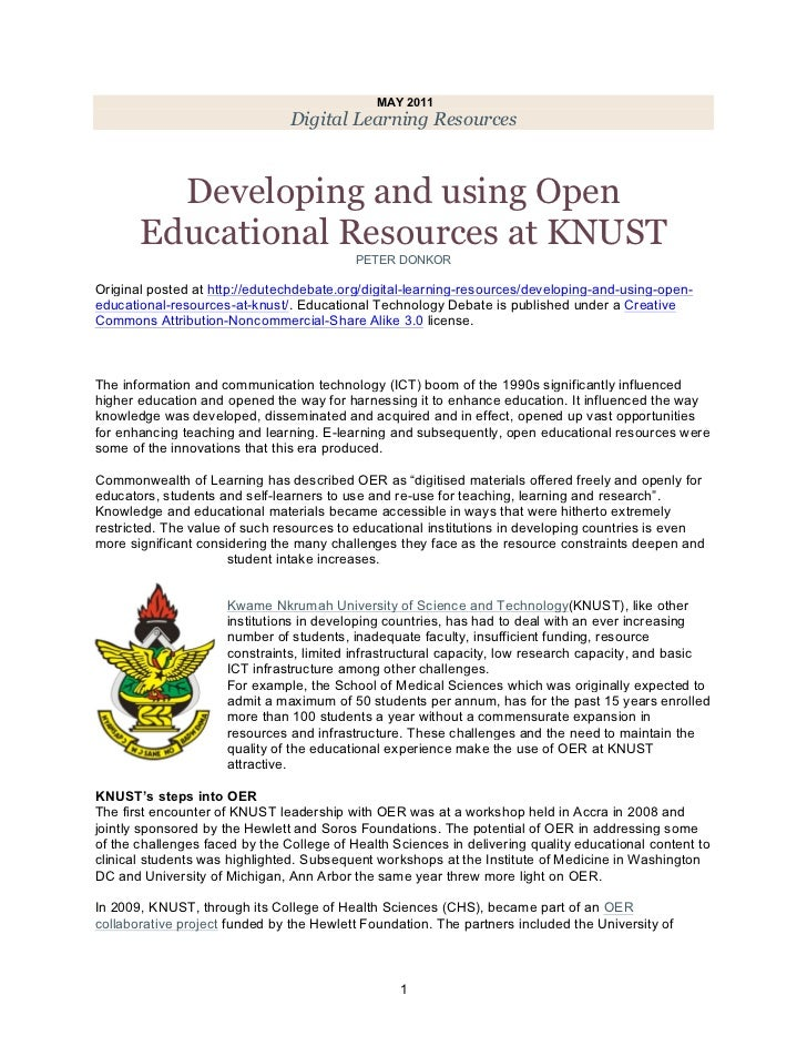 Developing and using Open Educational Resources at KNUST