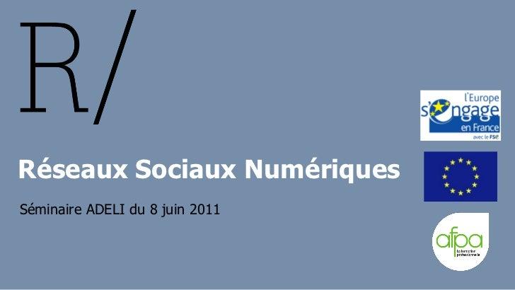 Réseaux Sociaux NumériquesSéminaire ADELI du 8 juin 2011