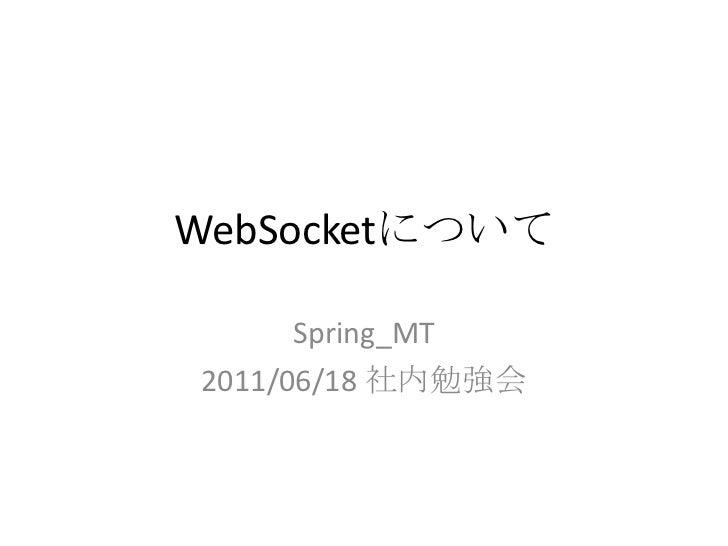 WebSocketについて<br />Spring_MT<br />2011/06/18 社内勉強会<br />