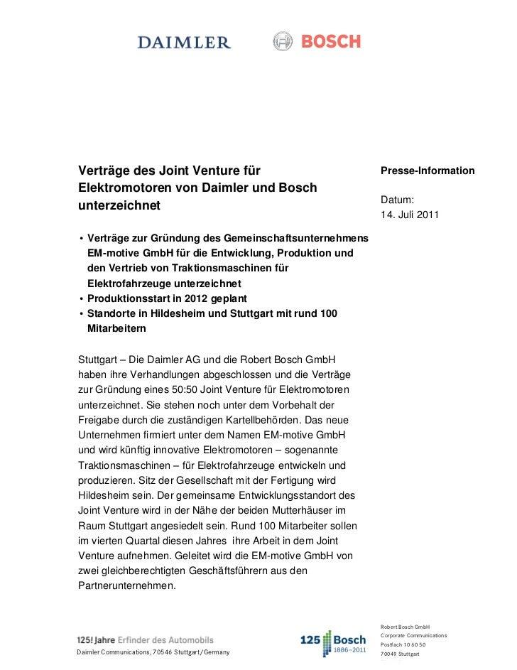 Verträge des Joint Venture für                                 Presse-InformationElektromotoren von Daimler und Bosch     ...