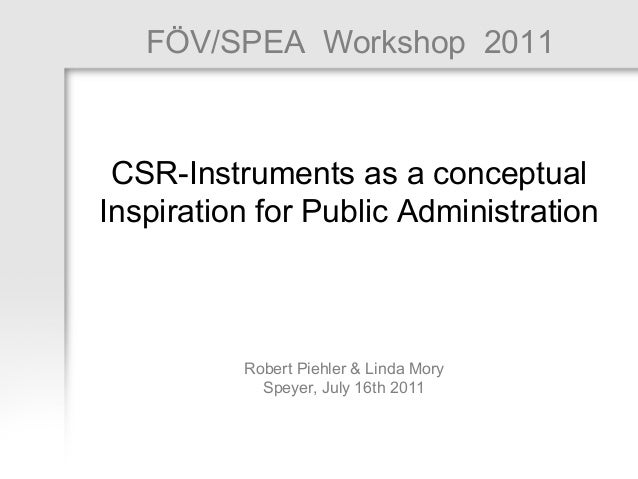 CSR-Instruments as  a conceptual Inspiration for Public Administration