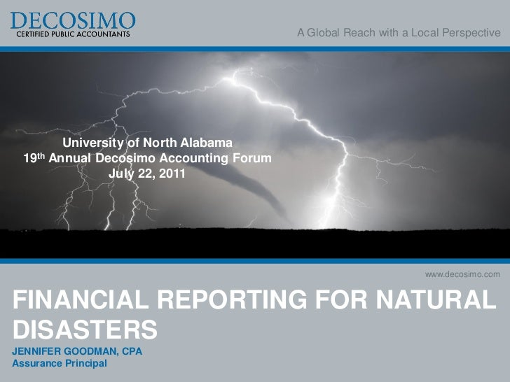 Financial Reporting for Natural Disasters