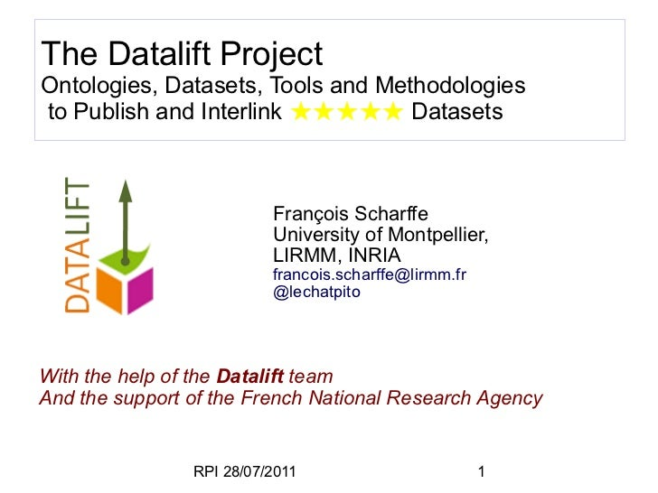 The Datalift ProjectOntologies, Datasets, Tools and Methodologiesto Publish and Interlink ★★★★★ Datasets                  ...