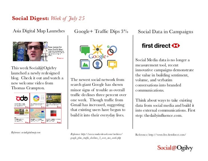 Social Digest: Week of July 25 Asia Digital Map Launches         Google+ Traffic Dips 3%                          Social Da...