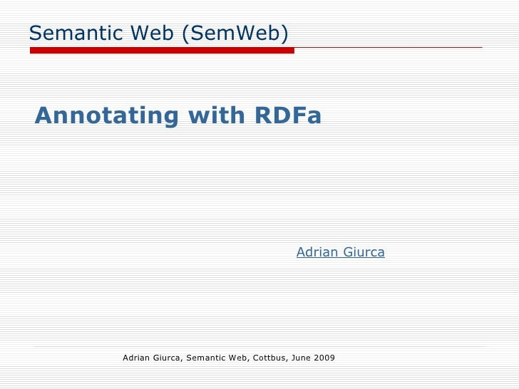 Annotating with RDFa