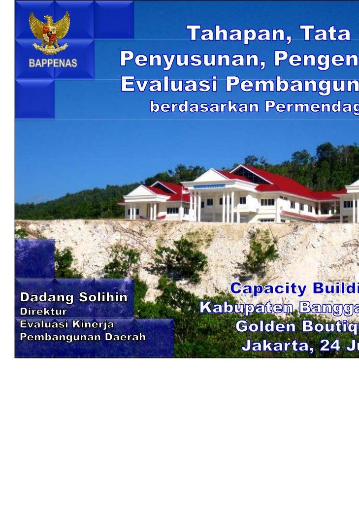 Tahapan, Tata Cara Penyusunan, Pengendalian dan Evaluasi Pembangunan Daerah berdasarkan Permendagri 54/2010