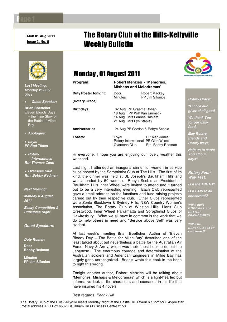 Page 1       Mon 01 Aug 2011                    The Rotary Club of the Hills-Kellyville       Issue 3. No. 5              ...