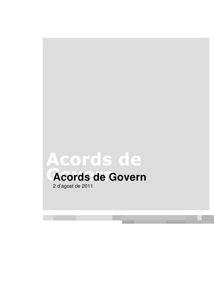 Acords de Govern2 d'agost de 2011