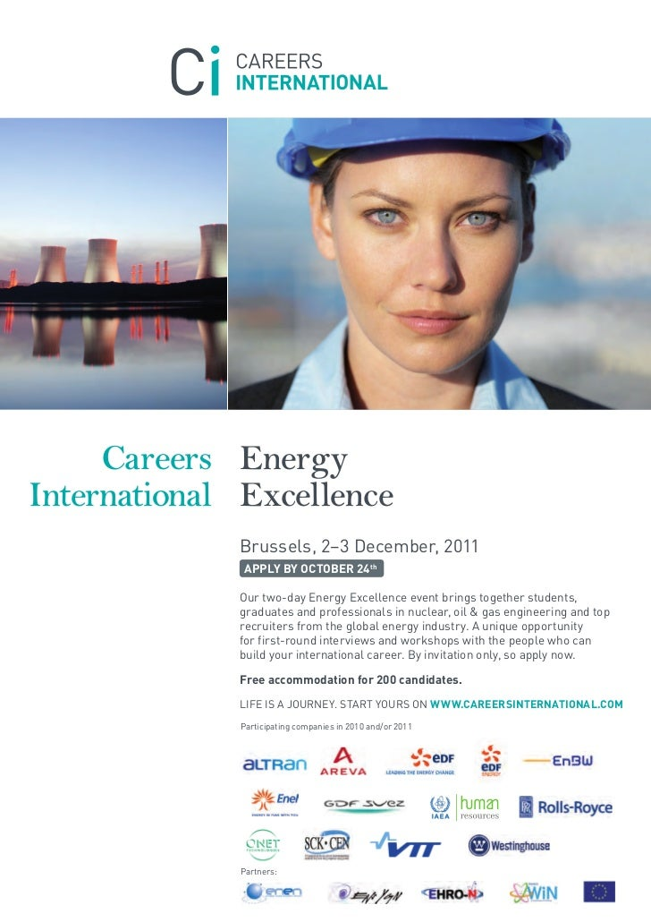 Careers EnergyInternational Excellence             Brussels, 2–3 December, 2011              APPLY BY OCTOBER 24th        ...