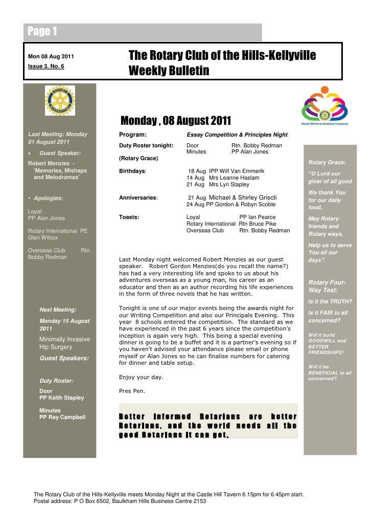 20110808 weekly bulletin