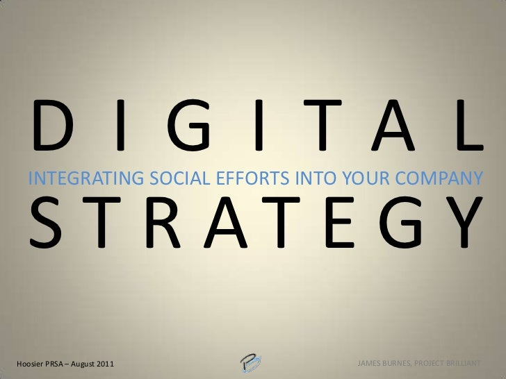 DIGITAL STRATEGY<br />Integrating SOCIAL EFFORTS INTO YOUR COMPANY<br />Hoosier PRSA – August 2011<br />