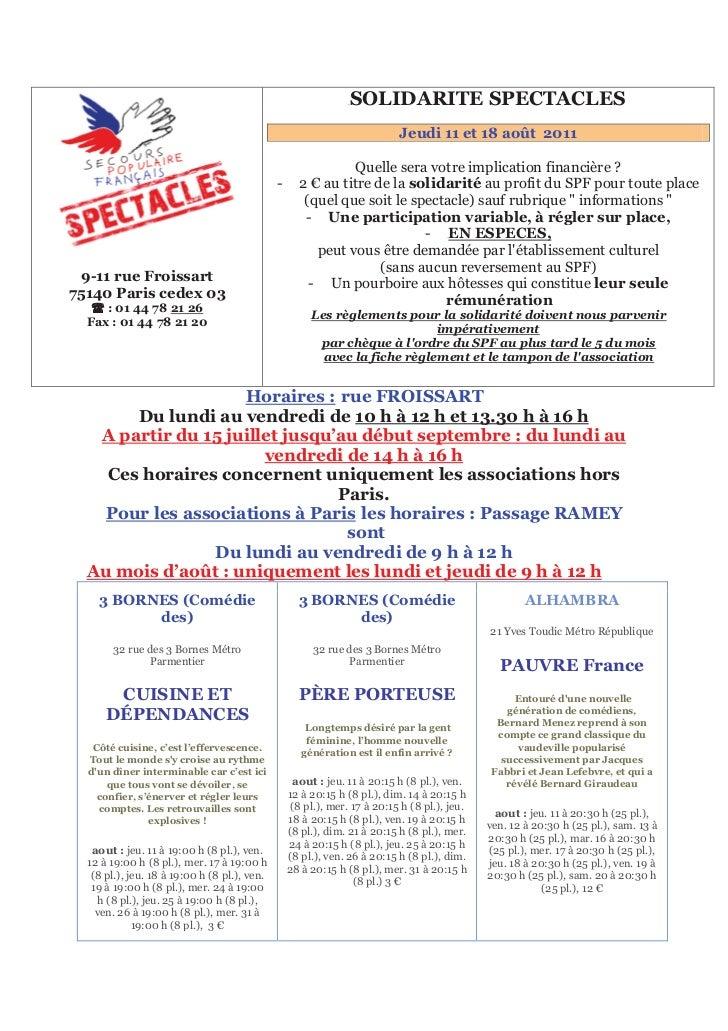 151B   SOLIDARITE SPECTACLES                                                                                    Jeudi 11 e...