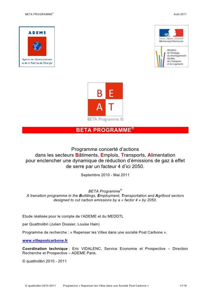 ® BETA PROGRAMME                                                                               Août 2011                  ...