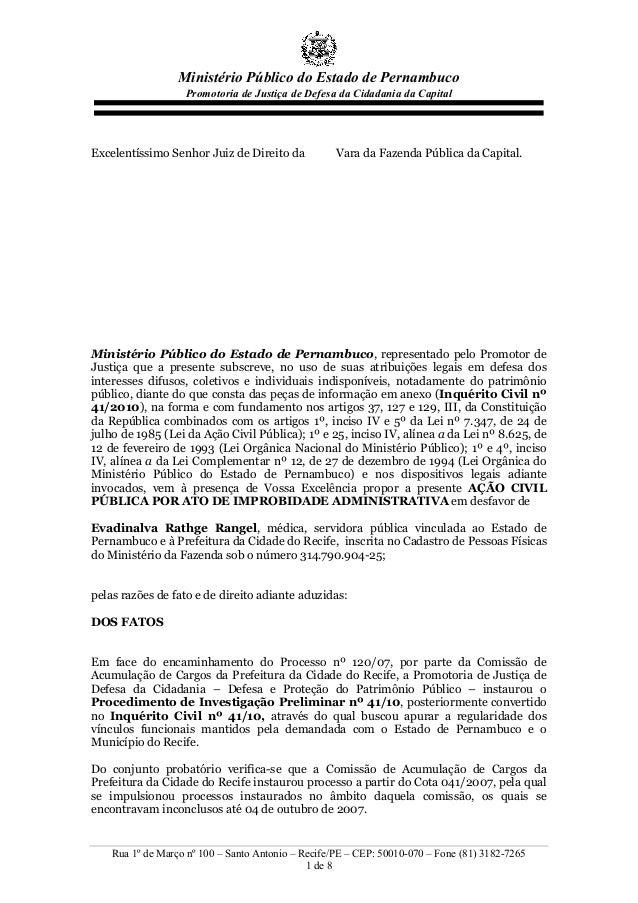 Ministério Público do Estado de Pernambuco Promotoria de Justiça de Defesa da Cidadania da Capital Rua 1º de Março nº 100 ...